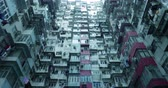 krottenwijk : Residential buildings in Hong Kong, China Stockvideo