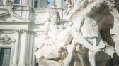 obelisco : Statue of Zeus in Berninis fountain of Four Rivers in Piazza Navona, Rome