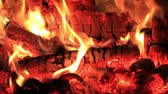 çatırtı : Hot fireplace full of embers and fire with the sound