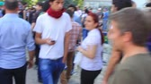 şantiye : ISTANBUL - JUN 1: Violence sparked by plans to build on the Gezi Park have broadened into nationwide anti government unrest on June 1, 2013 in Istanbul, Turkey. Fired construction worksite at Taksim