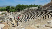 but : EPHESUS, TURKEY - Jun 15, 2014: Theatre stage building is three-storied and 18 meters high. It was used not only for concerts and plays, but also for religious, political and philosophical discussions and for gladiator and animal fights