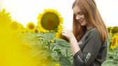 o : Beautiful girl with red straight hair in khaki sweatshirt tearing petals from sunflower. Portrait of a flirty smiling girl with blue eyes in a sunflower field. Game he loves me, he loves me not