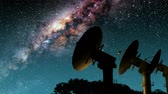 kosmos : Milky Way Galaxy Night Timelapse Passes Giant Satellite Dish.