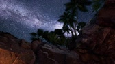 eroze : 4K hyperlapse star trails over sandstone canyon walls and palms Dostupné videozáznamy