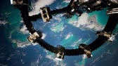 space station : 4k Flight Of The International Space Station Above the Earth.