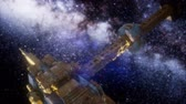 solar station : Space Ship and Milky Way Stars Stock Footage