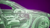 wynalazek : Holographic animation of 3D wireframe car model with engine