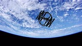 spacecraft : International Space Station in outer space over the planet Earth Stock Footage