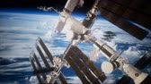 astrologia : International Space Station in outer space over the planet Earth Wideo