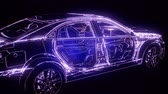 сложный : Holographic animation of 3D wireframe car model with engine