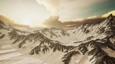 cazaquistão : Panorama of High Snow Mountains at Sunset