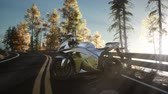 bisiklete binme : sportbike on tre road in forest with sun beams