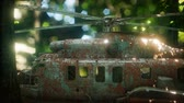 авиация : old rusted military helicopter