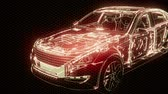 montáž : Holographic animation of 3D wireframe car model with engine
