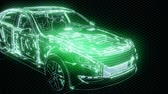 power line : Holographic animation of 3D wireframe car model with engine