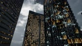 budynki : Glass Skyscrpaer Office Buildings with dark sky