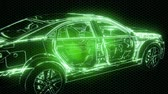 prova : Holographic animation of 3D wireframe car model with engine