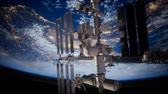 repülés : Earth and outer space station iss Stock mozgókép