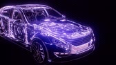 blauwdruk : Holographic animation of 3D wireframe car model with engine