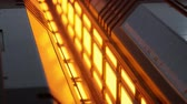 móveis : yellow lights and metal pannels in futuristic interior Stock Footage