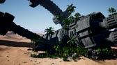 invasione : old rusted alien spaceship in desert. ufo