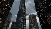 fırtınalı : Glass Skyscrpaer Office Buildings with dark sky