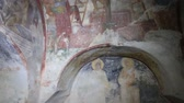 fresk : Old medieval faded murals Stok Video