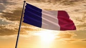 opportunities : France Flag, HQ animated on an epic sunset background  ready to use animation of the french flag animated on an epic background with fast moving clouds.