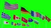 opportunities : Flags of different nations with greenscreen, alpha and z-matte Ready to use animation of different flags animated on a green screen background with alpha channel. Stock Footage