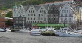 fishmarket : 4K, Brueggen, Norway, Row Of Houses, Long Pan, CineD (flat) profile Stock Footage