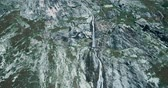 battu : Aerial, Flying Above Waterfalls At Rifugio Scarfiotti, Italy - Bleach Bypass