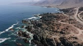 antofagasta : Aerial, Coastline At Bahia De Cascabel, Chile - neutral version