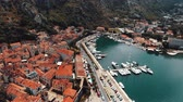 aerial view of old town of Kotor in Montenegro Stok Video