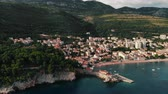 view from air to old European city on shore Adriatic Sea, summer