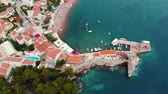 flight over old European city on Adriatic coast, drone shot Stok Video