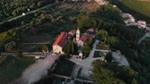 aerial view of ancient monastery in Montenegro, drone shot Stok Video