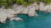 jadran : flight over rocky shore of Adriatic Sea, drone shot