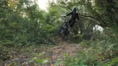 realizar : mountain biker rushes along road in forest