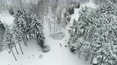 road top view : people walk in snowy park on winter day Stock Footage
