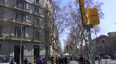 BARCELONA, SPAIN - FEBRUARY 19, 2019: Stabilized walking footage along La Rambla famous street