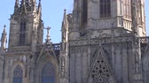 BARCELONA, SPAIN - FEBRUARY 19, 2019: Gothic cathedral in historic center, close up