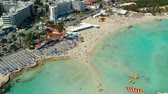 resort : Aerial view of beautiful beach of Mediterranean Stock Footage