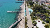 limassol : Limassol city embankment on sunny day, aerial view