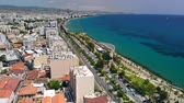 mediterraan : Limassol city embankment on sunny day, aerial view