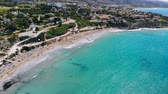 데 : Sandy beach on crystal clear Mediterranean Sea, aerial view, Cyprus 무비클립
