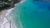 데 : Aerial view of beautiful bay with crystal clear water in Mediterranean Sea, Cyprus, Coral Bay