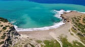 mediterraan : Deserted beach with crystal clear water on shores of Mediterranean Sea, aerial view