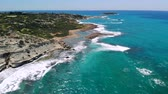 mediterraan : Aerial view of rocky Mediterranean coast in Cyprus on sunny day Stockvideo
