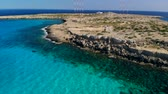 chipre : Aerial view lagoon near Cape Cavo Greco on sunny day