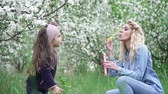медленно : Happy Mom and baby daughter playing with soap bubbles in blooming garden, slow motion Стоковые видеозаписи